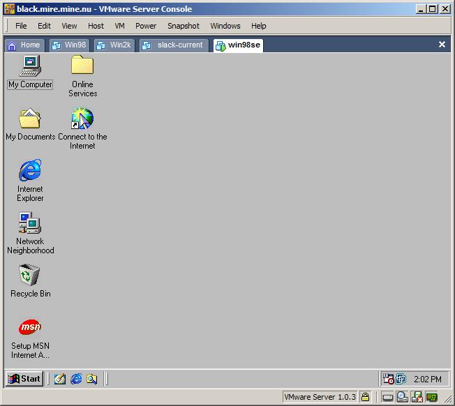 Using VMware server